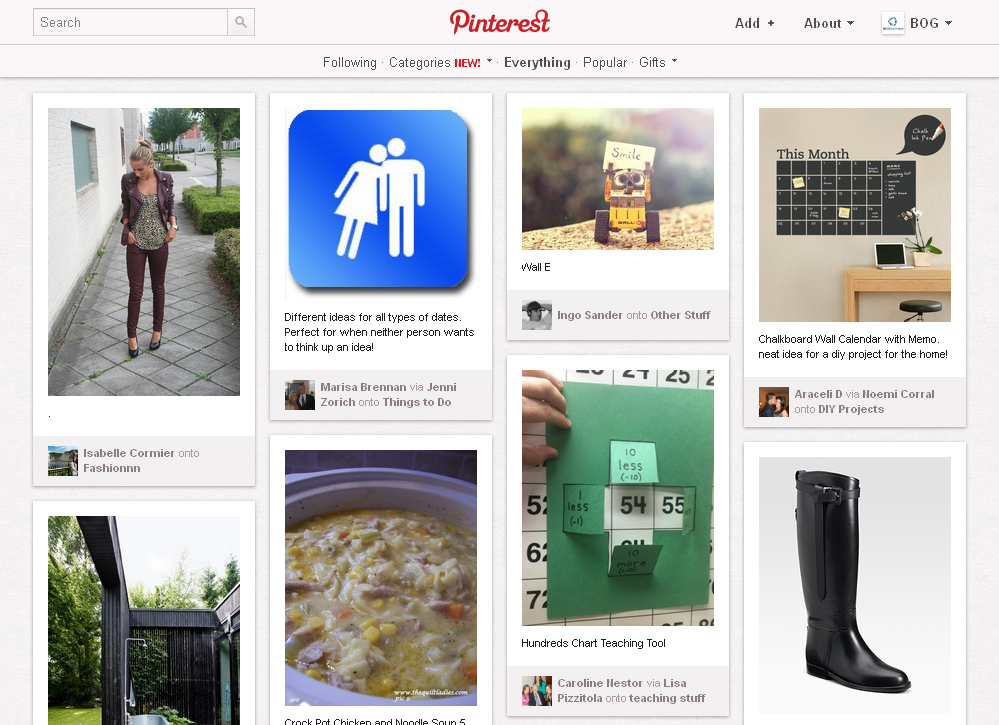 Pinterest interface